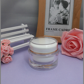 50G acrylic white round cream jar ,whiter inner lid  jar w gold line Refillable cream jar,Cosmetic Jar,Cosmetic Packaging