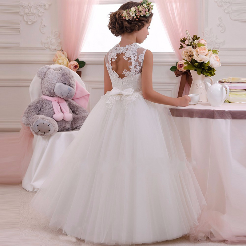 Girls     flower     dress   kids first communion   dresses   for weddings prom clothing kids children baby elegant ball gown fluffy costume