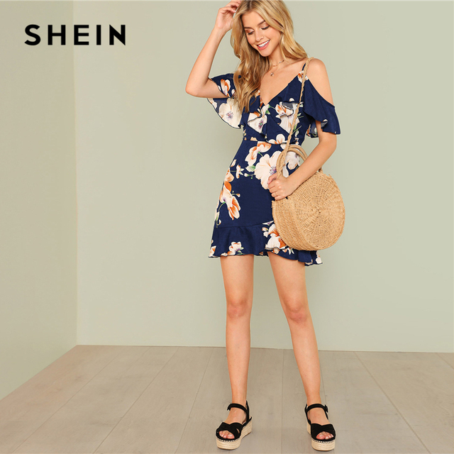 SHEIN Multicolor Vacation Backless Boho Bohemian Beach Flounce Cold Shoulder Floral Print Dress Summer Women Casual Dress 4