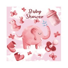Купить с кэшбэком Laeacco Pink Elephant Baby Shower Backdrops For Photography Baby Toys Party Poster Photographic Backgrounds For Photo Studio
