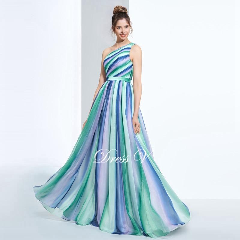 Dressv One Shoulder Printing Prom Dress Multi Color A Line Floor