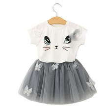 2017 Baby Summer Girls Clothing Set Cartoon Cat T Shirt Yarn Tutu Lace Skirt Children Kids Clothes Suits Fashion Toddler Clothes