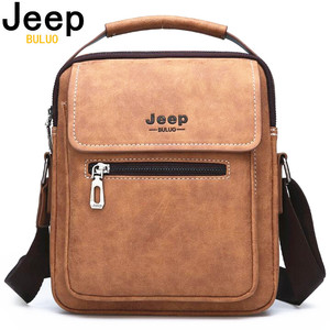 Image 1 - JEEP BULUO Brand Man Handbag Hot Sale Men Messenger Shoulder Bags Frosted Leather Totes Classic Brown Crossbody Bag New Style