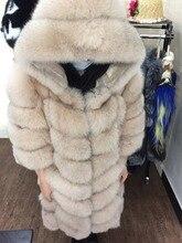 Fashion Style Lola luxury ladies real hooded fur coats winter luxury plush genuine fox fur jackets outerwear
