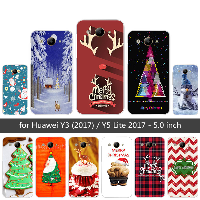 5.0 for Huawei Y3 2017 Back Matte Merry Christmas Cover Clear for Huawei Y5 Lite 2017 MT6737M CRO-L02 Fitted Phone Case for Y3
