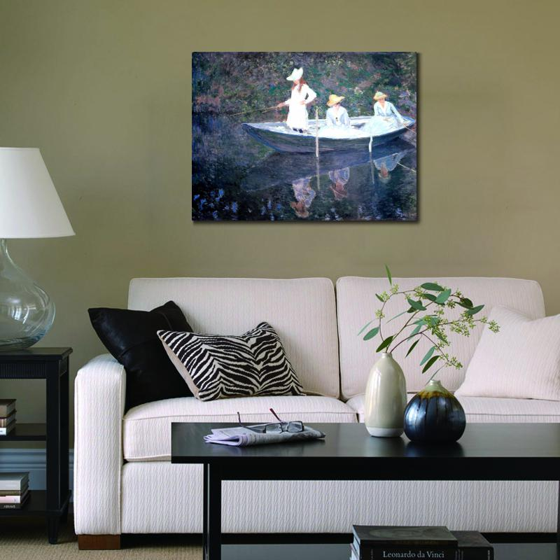 High quality Claude Monet paintings for sale In the Norvegienne Boat at Giverny Canvas art hand-painted