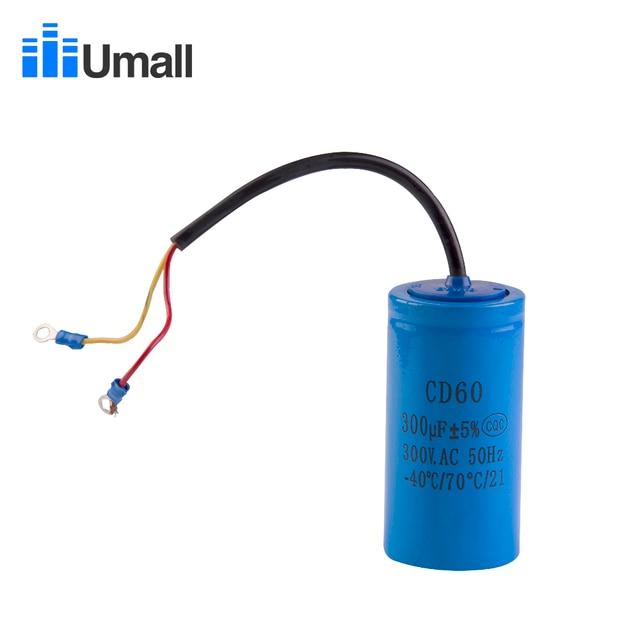 Cd60 300 uf 300 v ac começando capacitor para o motor elétrico resistente compressor de ar vermelho amarelo dois fios