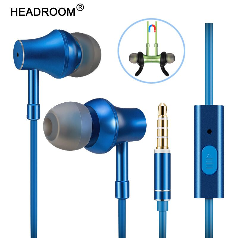 HEADROOM MD13 Magnetic Earphone with Mic HIFI Stereo Bass Sports Running Music Metal Headset Headphone for iPhone Samsung huawei