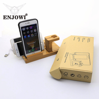 Multi function Bamboo Wood Charger Pen Watch Phone Stand Holder For Apple iPhone iPad Desktop 4 USB Ports power Charging Station