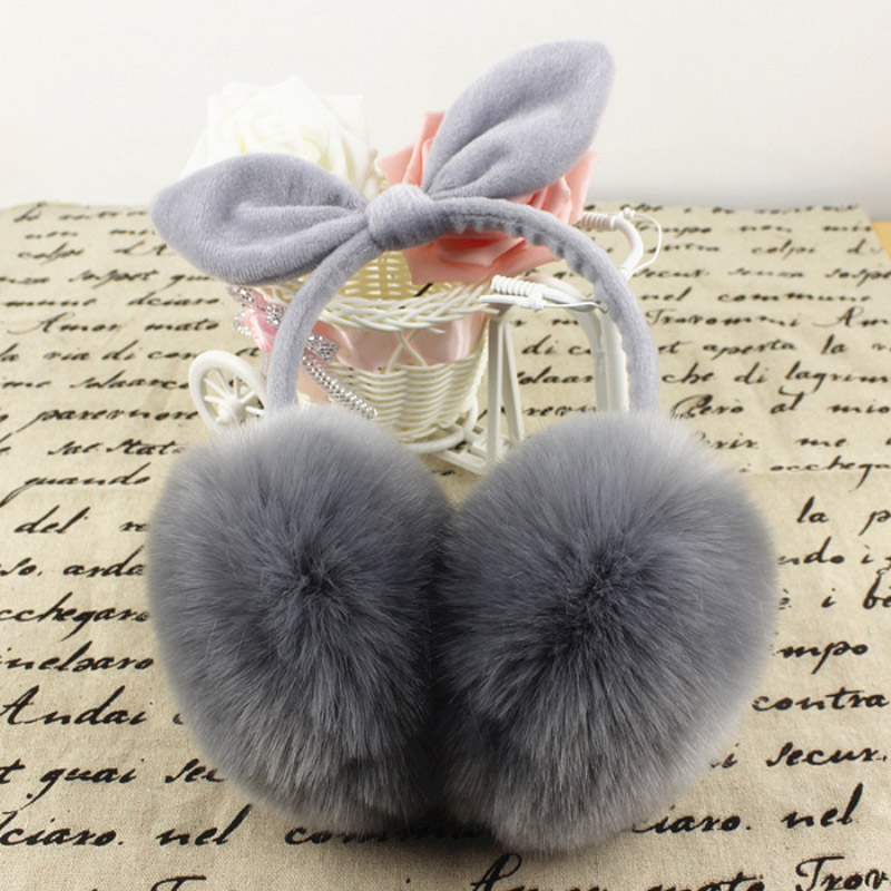 Winter Earmuffs Women High Quality Bow Cute Rabbit Earmuffs Warm Simulation Plush Winter Ear Warm Ear Covering