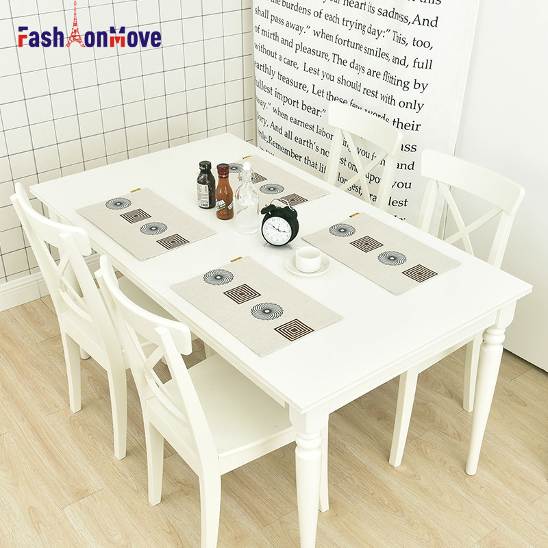 44x28cm European Style Pattern Cotton Linen Western Pad Placemat Insulation Dining Table Mat Bowls Coasters Kitchen Accessories