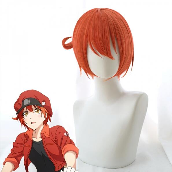 Cosplay Orange Wig Cells at Work! Hataraku Saibo Cosplay Wig Erythrocite Red Blood Cell Wig Hair Short AE3803 Halloween Wig