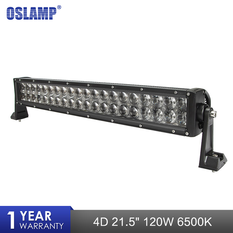 Oslamp 4D 21.5 120W Work Light Combo Beam Straight LED Bar Light for Motorcycle Tractor Boat Off Road 4WD 4x4 Truck SUV ATV sufemotec 5d 14 22 32 42 52 500w led light bar straight combo beam driving lamps for off road truck 4x4 4wd suv atv