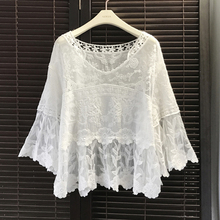 Women White loose Blouse One size Sexy hollow out Lace Crochet Boho Casual Beach Bikini Cover Up Blouses Shirt Tops