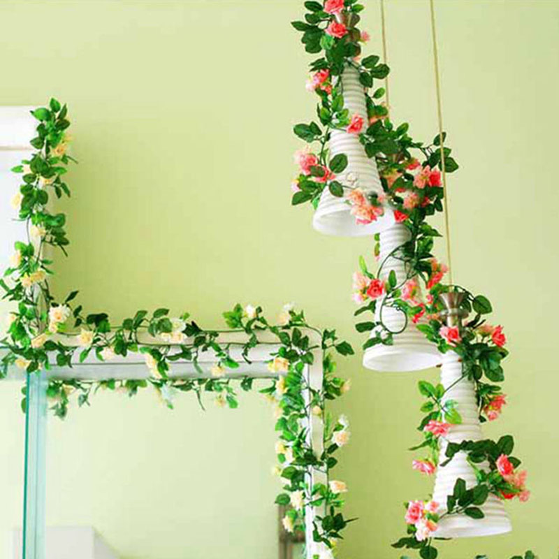 250cm fake silk roses ivy vine artificial flowers with for Artificial leaves for decoration