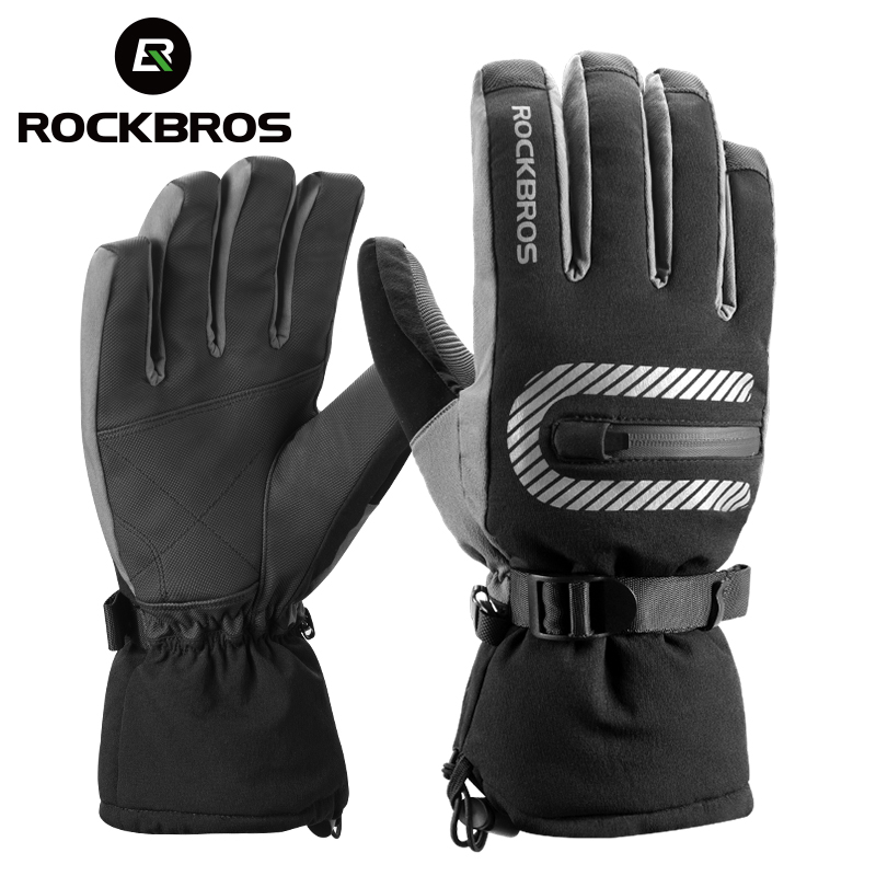 ROCKBORS Ski Gloves Windproof Warm Snowboard Skiing Gloves Fleece Waterproof Heated Gloves Snowmobile Motorcycle Winter Gloves
