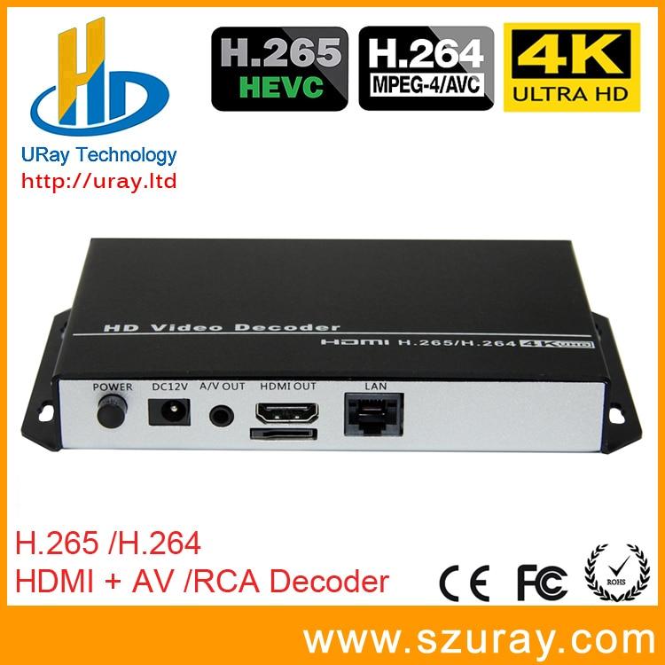 URay HEVC 4 K Ultra HD H.265/H265 Et H.264/H264 HDMI AV RCA Vidéo Streaming Décodeur Pour Décodage HTTP RTSP RTMP UDP codeur