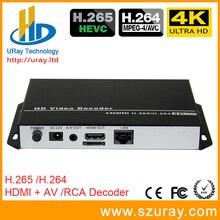 4 K Ultra HD H.265 HEVC URay/H265 E H.264/H264 HDMI AV RCA de Vídeo Decodificador Para Decodificação De Streaming HTTP RTSP RTMP UDP codificador