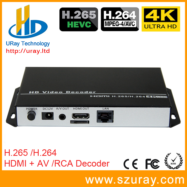 URay HEVC 4K Ultra HD H.265 / H265 And H.264 / H264 HDMI AV RCA Video Streaming Decoder For Decoding HTTP RTSP RTMP UDP Encoder
