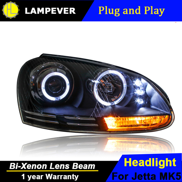 Lampever Styling For Vw Jetta Headlights 2006 2010 Mk5 Led Headlight Drl Bi Xenon Lens High Low Beam Parking