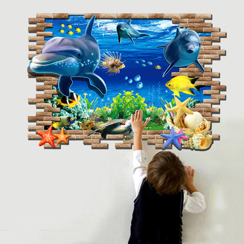Cute Kawaii 3D Ocean Shark Kids Room Removable Home Decor Vinyl Art Wall Stickers Decal Wallpaper For living Room Bedroom