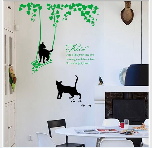 Black cat swing on green vines wall sticker green leaves the cat wall quote decal living