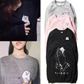 Ripndip Brand Sweatshirt  Pocket Cat Funny Printed Pullover Men O-neck Cotton Fleece Hoodie Solid Black Pink Sweatshirts Women