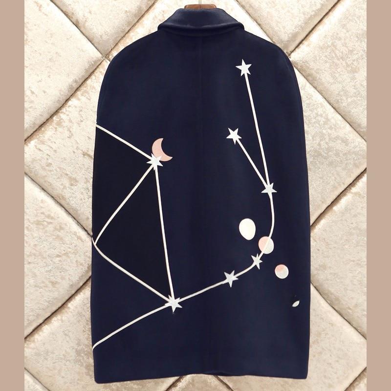 Conception cape Bleu Supérieure Marque Mode Lune En Broderie D634 Marine Vintage Pistes Qualité Femmes amp; Manteau Laine Star Manteau EwISfxwHq