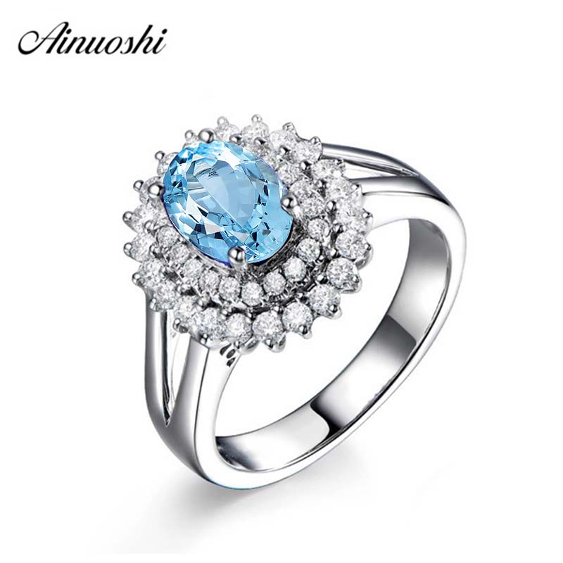 AINUOSHI Pure 925 Sterling Silver Topaz Halo Ring 2 Carat Oval Cut Natural Blue Topaz Double Halo Engagement Wedding Ring halo volume 2 escalation