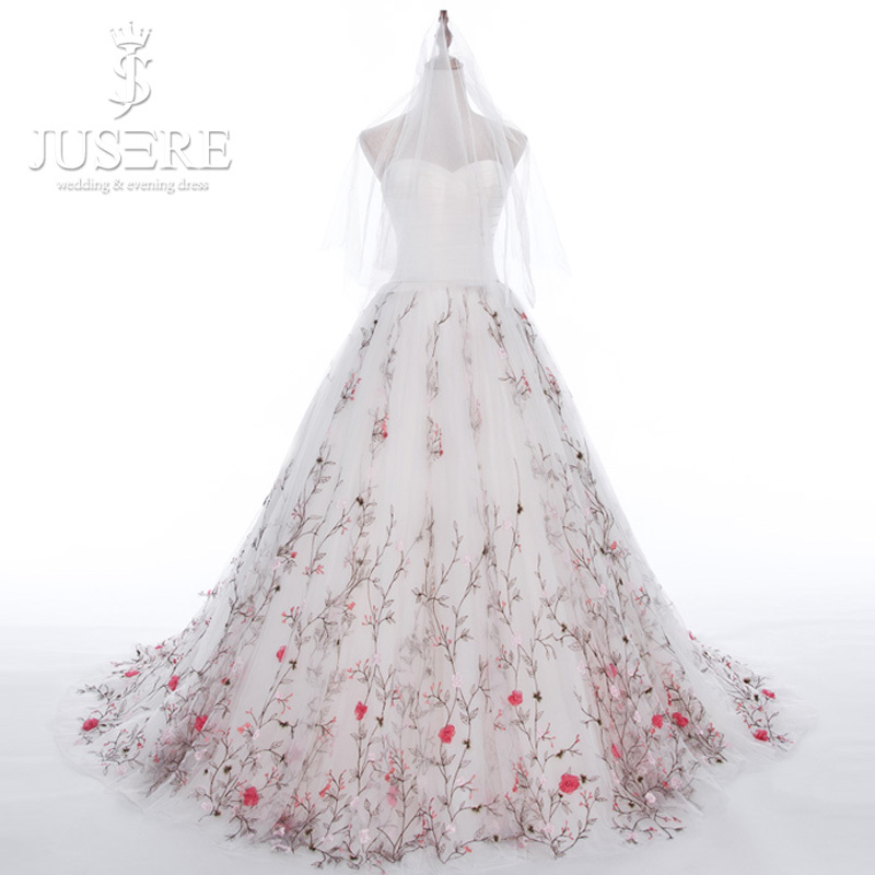 Jusere tree branch hem train sweetheart satin corset ruch