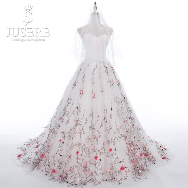 Aliexpresscom buy jusere tree branch hem train for Floral embroidered wedding dress