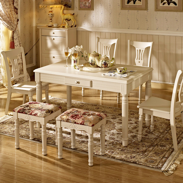 Solid Wood Painted White Modern Minimalist Ikea Korean Idyllic Small  Dinette Table Dining Table Combination Of