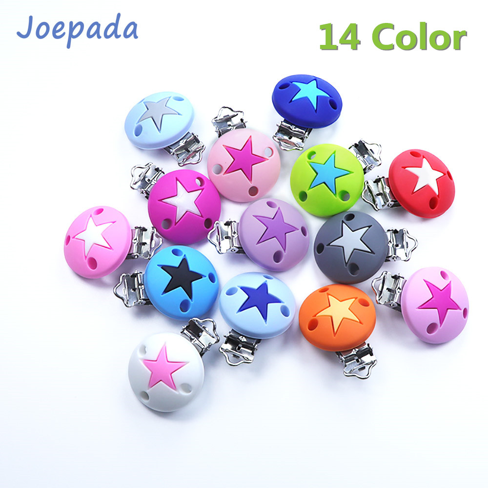 14 Color Joepada 2Pc/lot Silicone Beads Star Shape Pattern Pacifier Clip For DIY Baby Teething Necklace Accessories Baby Teether