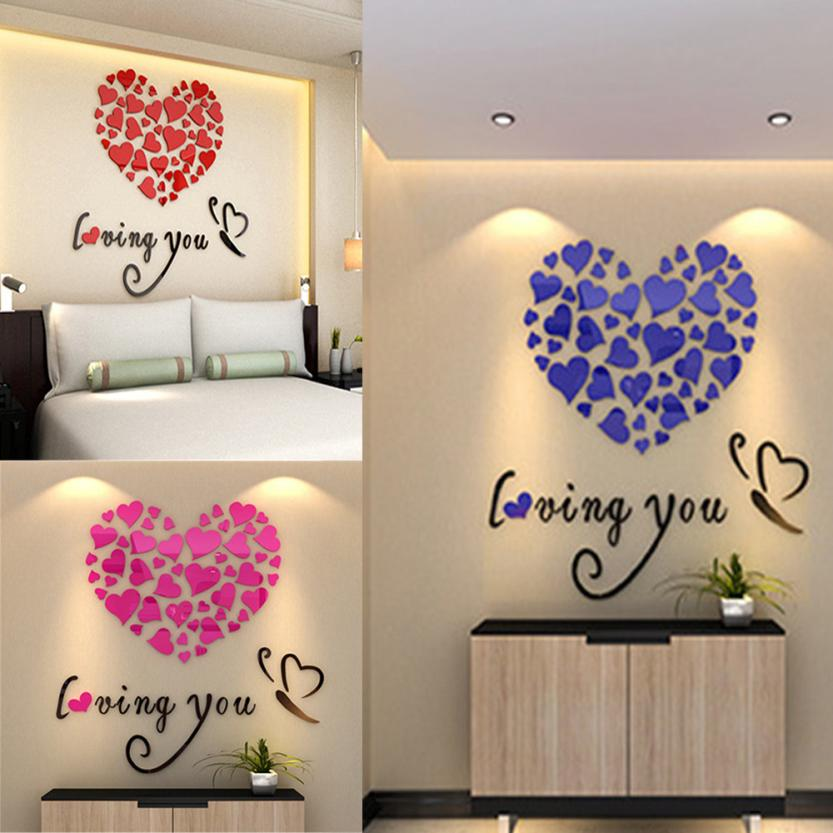 Love Heart DIY Removable Vinyl Decal Art Mural Wall Stickers Home Room Decor love wal door glass stickers modern nt0