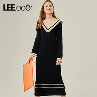 LEEJOOER 2017 Winter Dress Women Long Sleeve V Neck Basic Dresses For Life Casual A Line