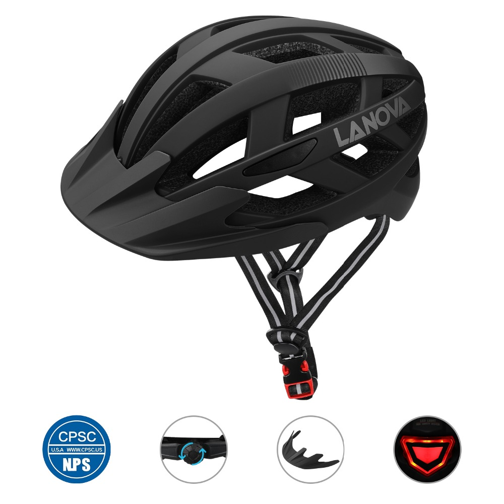 LANOVA Cycling Helmet Bike Helmet USB Rechargeable LED Lights, Bicycle Helmet Road MTB Helmet Adult Ultralight Integrally-MoldedLANOVA Cycling Helmet Bike Helmet USB Rechargeable LED Lights, Bicycle Helmet Road MTB Helmet Adult Ultralight Integrally-Molded
