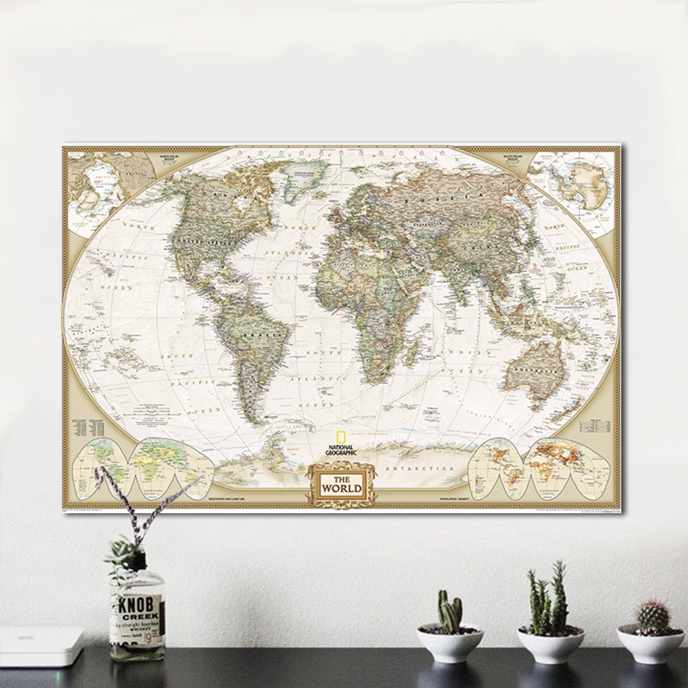 5PCS Vintage World Maps 40*60cm Detailed Antique Poster Wall Chart Retro Creative Kraft Paper Map Decoration School Supplies
