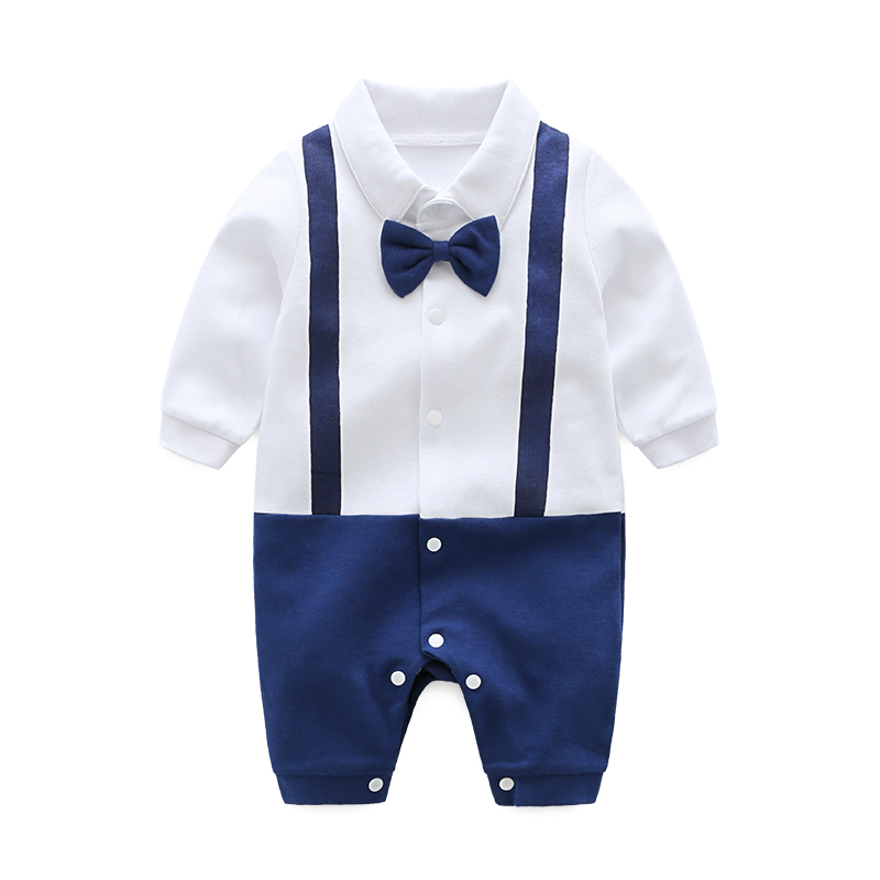 Bow Tie Baby Rompers Gentleman Baby Costume Infant Long Sleeve Jumpsuits Newborn Baby Clothes Romper Fake-two Baby Clothes Sets