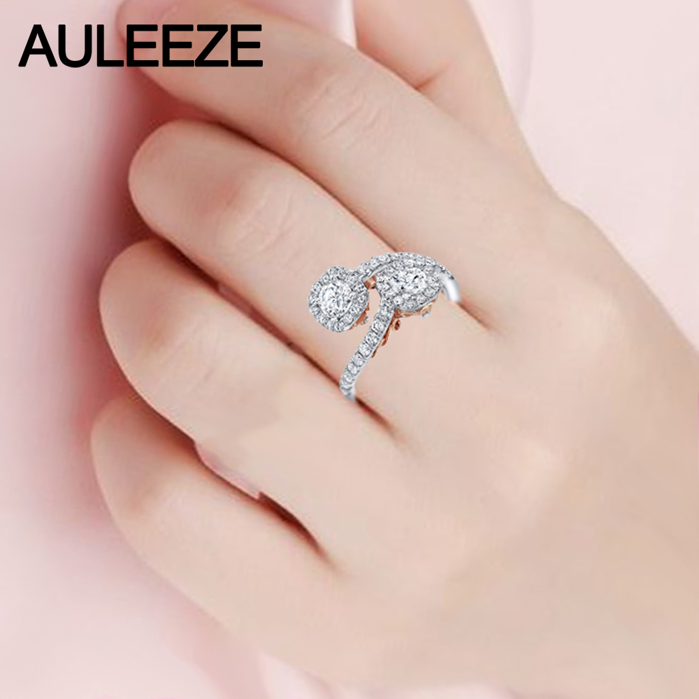 Filigree Design Two Stone Cushion Halo Lab Grown Diamond Ring 14K ...