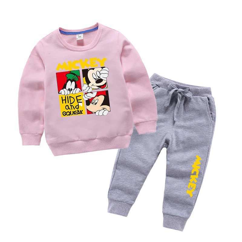 Осенне-зимняя детская одежда с Микки для мальчиков и девочек, хлопковая футболка с длинными рукавами и принтом из мультфильма Топы + спортивные штаны От 1 до 9 лет из 2 предметов