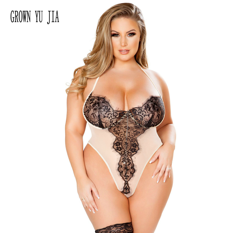 Hot <font><b>Babydoll</b></font> <font><b>Sexy</b></font> halter <font><b>Lingerie</b></font> Erotic Women white Lace bodysuit porno Plus Size <font><b>Lingerie</b></font> <font><b>4xl</b></font> 5xl Transparent Hollow-out teddy image