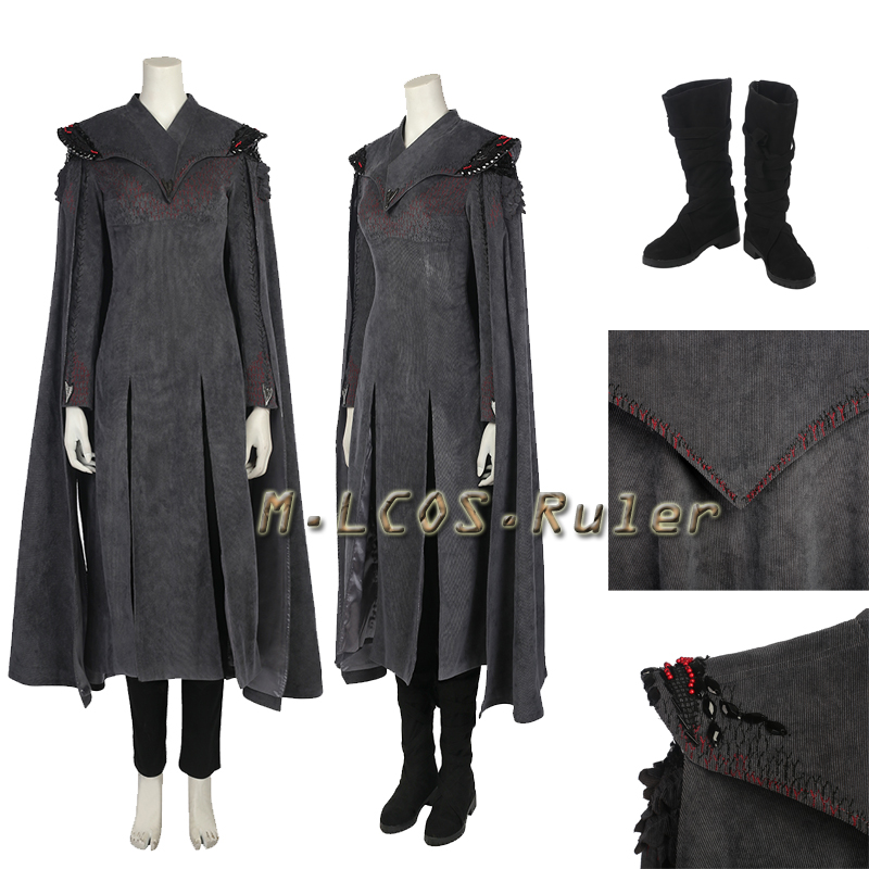Exclusive Game of Thrones 7 Daenerys Targaryen Cosplay Mother of Dragons Costume Halloween All Size Free Shipping