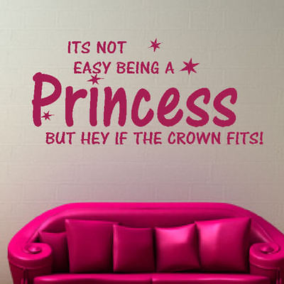 WALL ART Not Easy Being Princess QUOTE Words Sofa Vinyl Wall Sticker ...