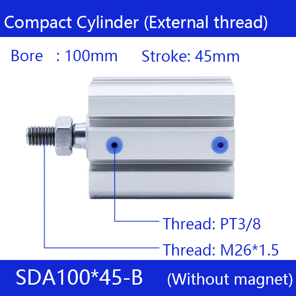 SDA100*45-B Free shipping 100mm Bore 45mm Stroke External thread Compact Air Cylinders  Dual Action Air Pneumatic CylinderSDA100*45-B Free shipping 100mm Bore 45mm Stroke External thread Compact Air Cylinders  Dual Action Air Pneumatic Cylinder