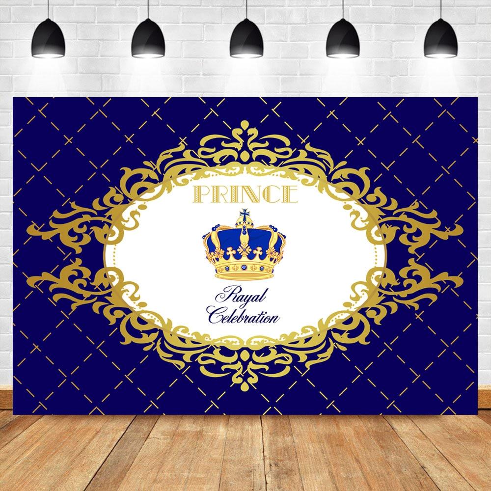 NeoBack Royal Boy Baby Shower Photo Backdrop Celebration Prince Crown Sapphire Plaid Background Photophone