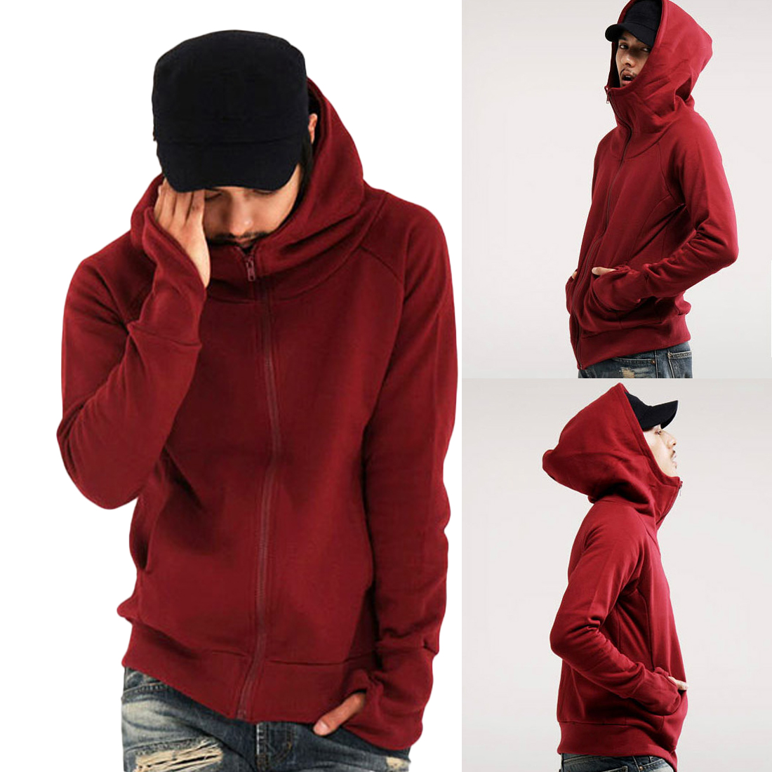 YJSFG HOUSE Mens Hoodies Fashion Slim Fit Hooded Gloves Pullover Long Sleeve Jackets Sweatshirts Casual Zipper Coats