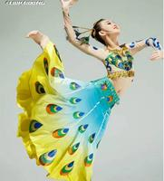 2017 New Dance style Peacock dress Dai women dance clothes Stage clothes for singers