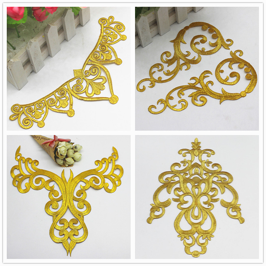 Iron On Appliques Gold Embroidered Patches Party Decoration Vintage Metallic Cosplay Costumes Flower Diy Trims