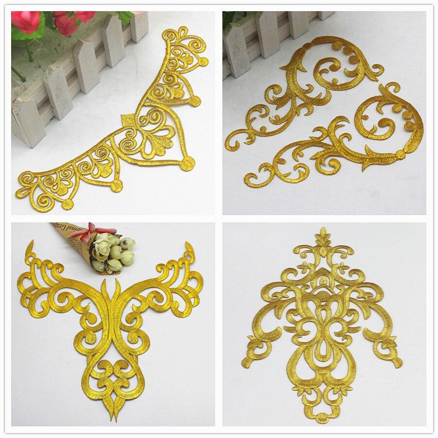 ברזל על אפליקציות זהב רקום תיקוני מסיבת קישוט בציר מתכתי קוספליי תחפושות פרח Diy Trims
