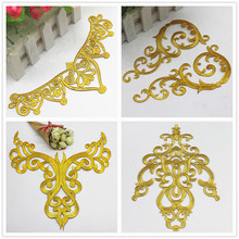 Iron On Appliques Gold Embroidered Patches Party Decoration Vintage Metallic Cosplay Costumes Flower Diy Trims embroidered flower appliques skirt